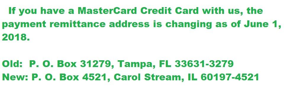 MasterCard Remittance Address