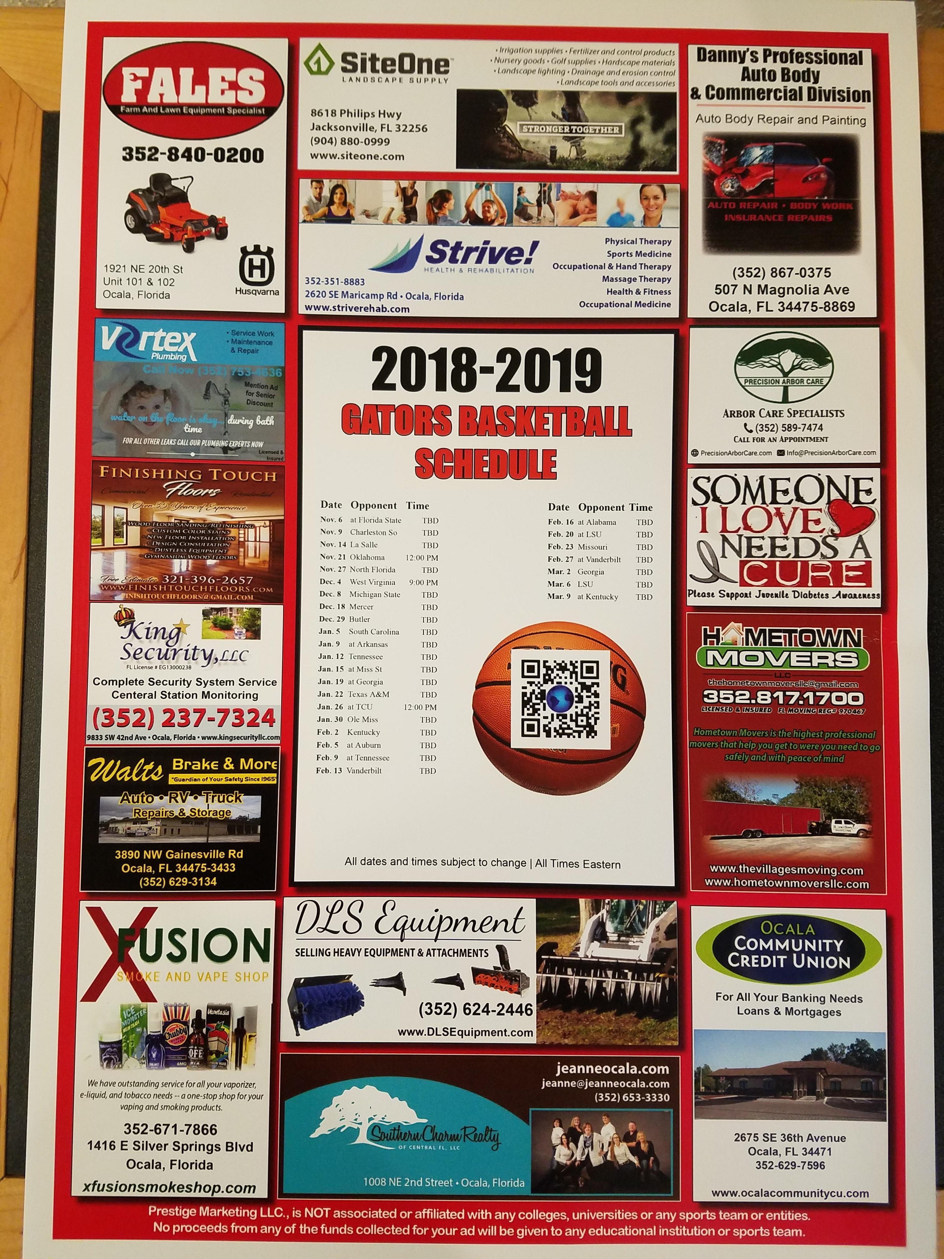 11-2018 UF Basketball Schedule - OCCU Sponsor