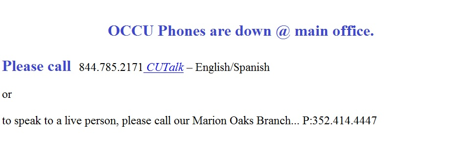 Main Office Phones are Down