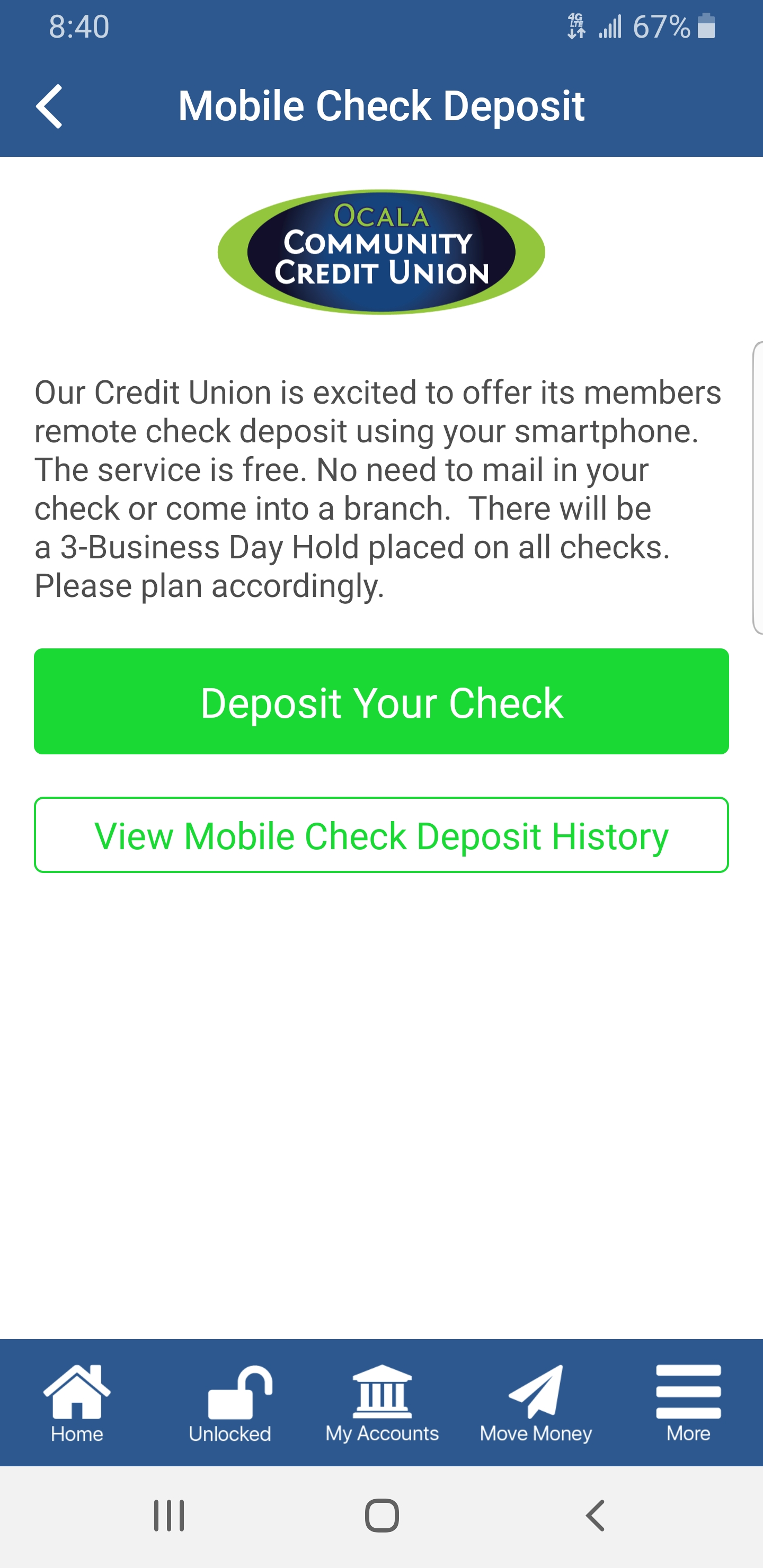 Mobile Check Deposit - 3 Bus Day Hold