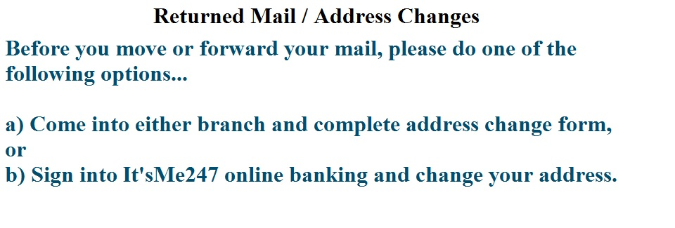 Address Changes - Instructions to avoid Fee