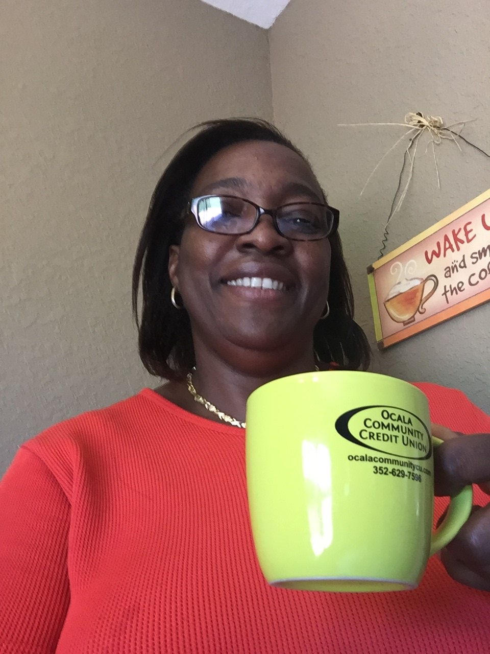Judith Johnson w OCCU Coffe Cup
