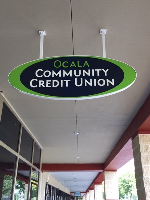 OCCU's new hanging sign @ Marion Oaks Branch