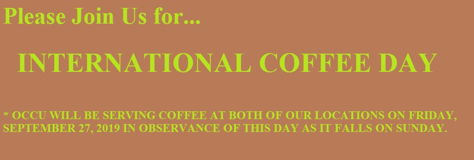 Celebrate International Coffee Day w/OCCU