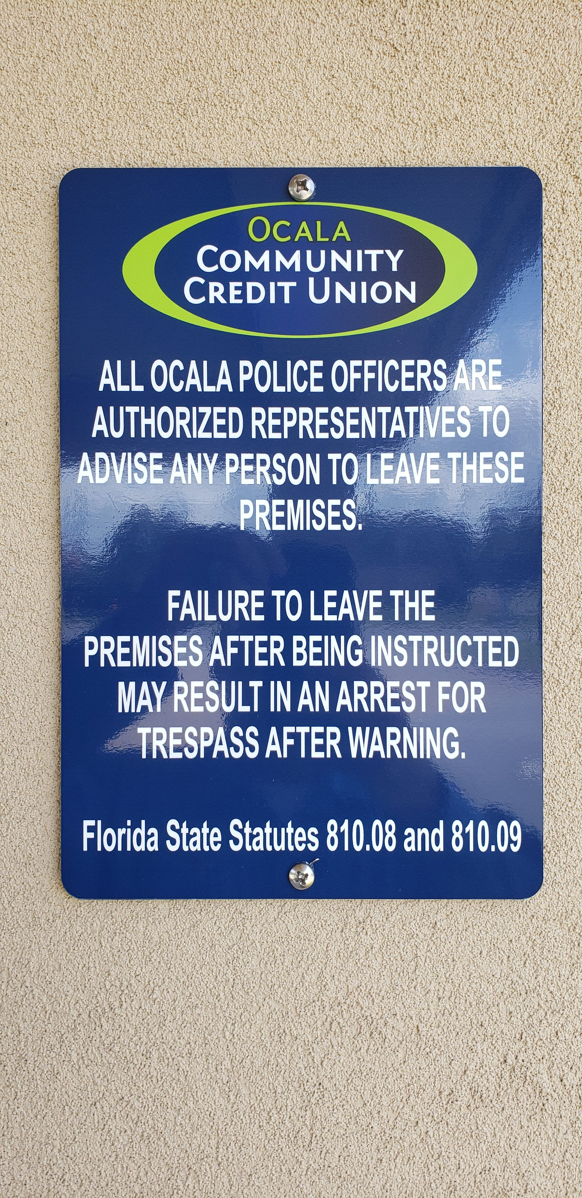 Ocala PD Authorization to remove Trespassers
