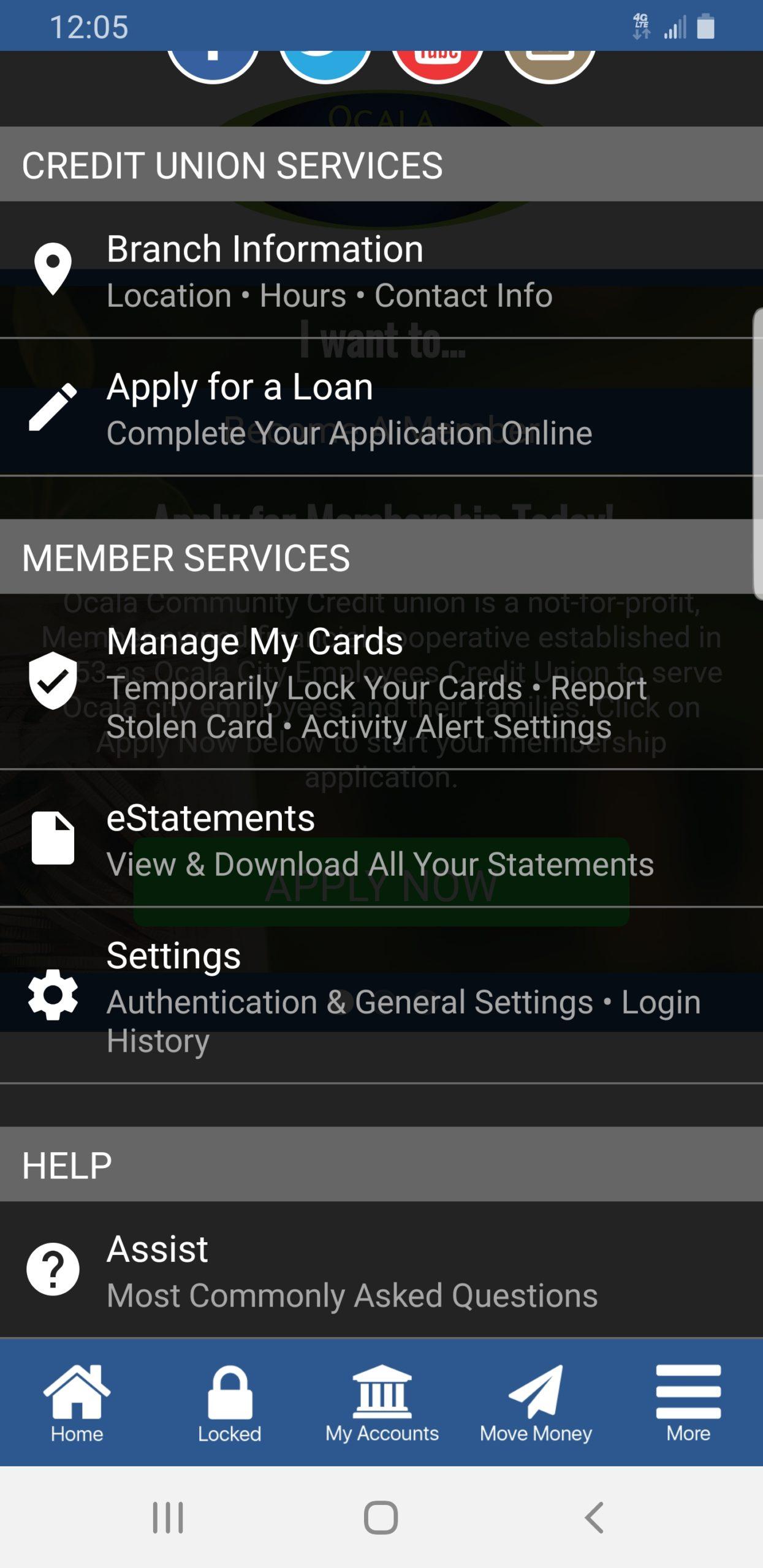 Screenshot of OCCU App