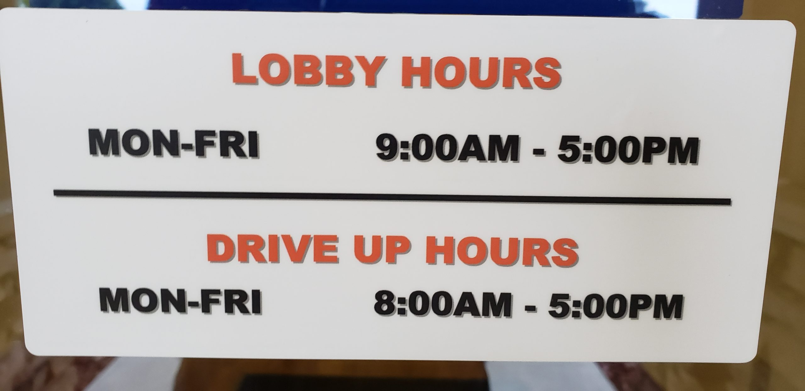 New Drive Thru Hours effective Dec 6th