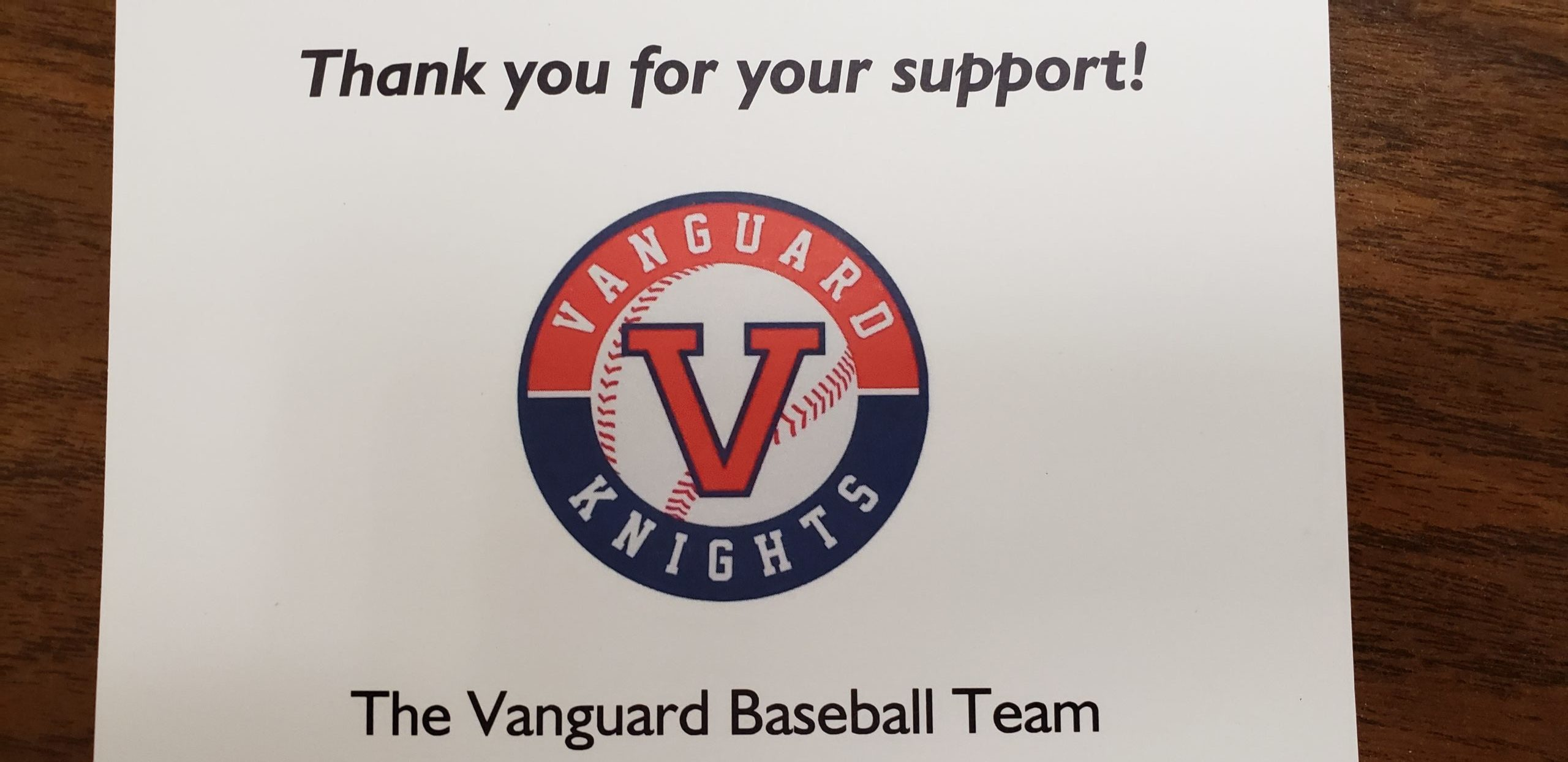 Vanguard Baseball - Thank you!