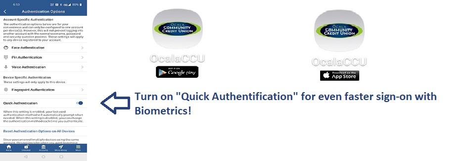Quick Authentication in OcalaCCU App